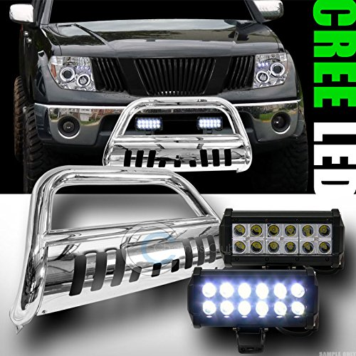 CHROME HD BULL BAR BUMPER GUARD36W CREE LED FOG LIGHT FOR 2005 FRONTIERXTERRA