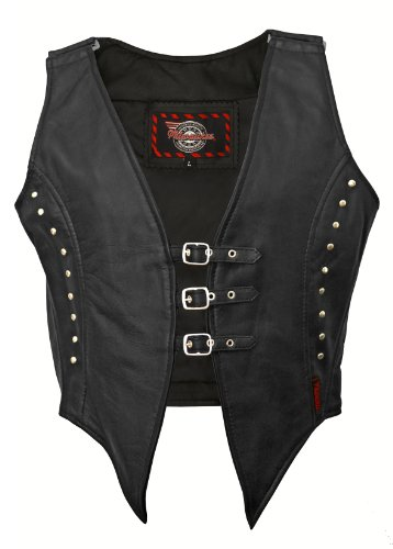 Milwaukee Motorcycle Clothing Company Womens Illusion Vest with 3-Buckle Closure Black X-Small