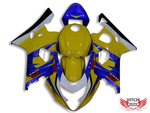 VITCIK Fairing Kits Fit for Suzuki GSX-R750 GSX-R600 K4 2004 2005 GSXR 600 750 K4 04 05 Plastic ABS Injection Mold Complete Motorcycle Body Aftermarket Bodywork Frame Yellow Blue A009