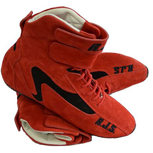 NEW PAIR OF RJS RED HIGH-TOP DRIVING SHOES SIZE 12 RACING BOOTS HAVE SFI SPEC OF 335 COMFORTABLE DURABLE AND SAFE FOR THE RACER BRUSHED LEATHER AND ARIMAND KEVLAR LINER FOR EXTRA COMFORT GREAT FOR NUMEROUS TYPES OF RACING AND OFF-ROAD APPLICATION