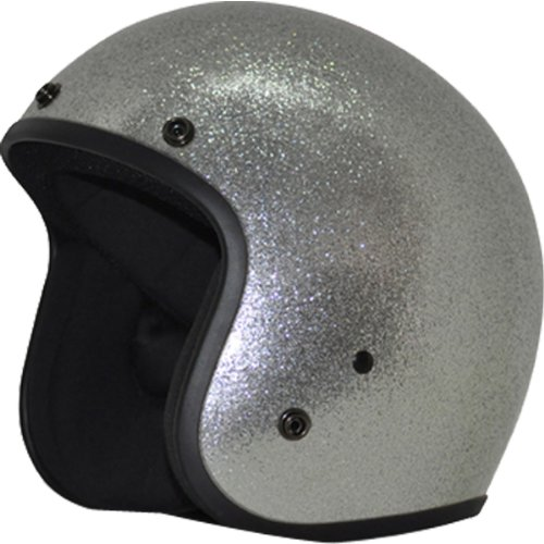 Daytona Metal Flake DOT Approved 34 Shell Cruiser Motorcycle Helmet - Silver  Small