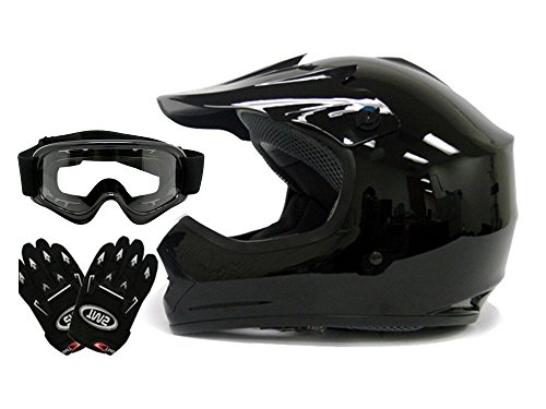 TMS Youth Kids Gloss Black Dirt Bike Atv Motocross Off-road Helmet Wgogglesgloves Medium