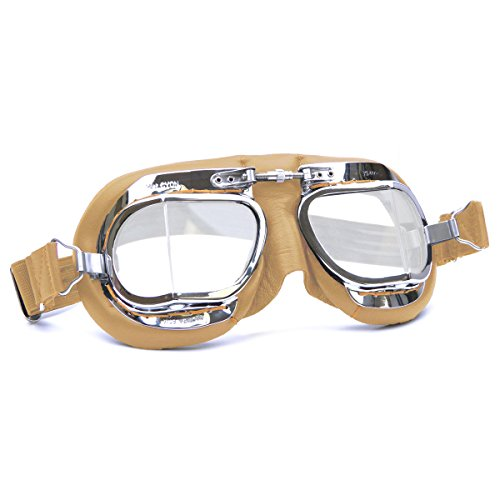 HDM Products Mk49 Leather Motorcycle Goggle For Open Face Helmets Tan