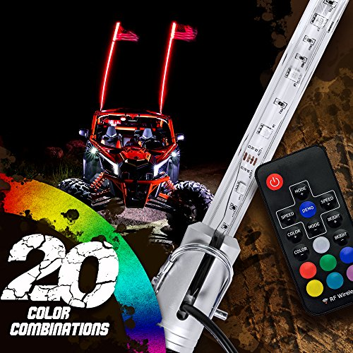 OLS 4ft LED Whip Lights w Flag 21 Modes 20 Colors Wireless Remote Weatherproof Lighted Antenna Whips - Accessories for ATV Polaris RZR 4 Wheeler