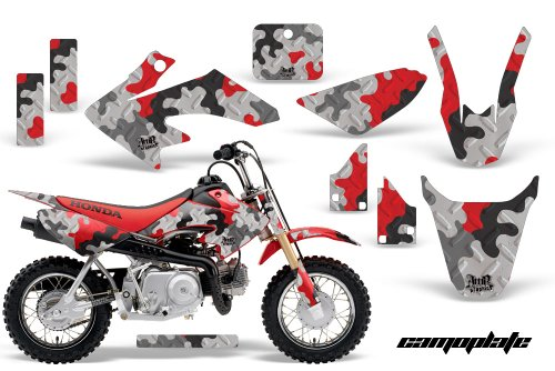 AMR Racing MX Dirt Bike Graphic Kit Sticker Decals Compatible with Honda CRF50 2004-2013 - Camoplate Red