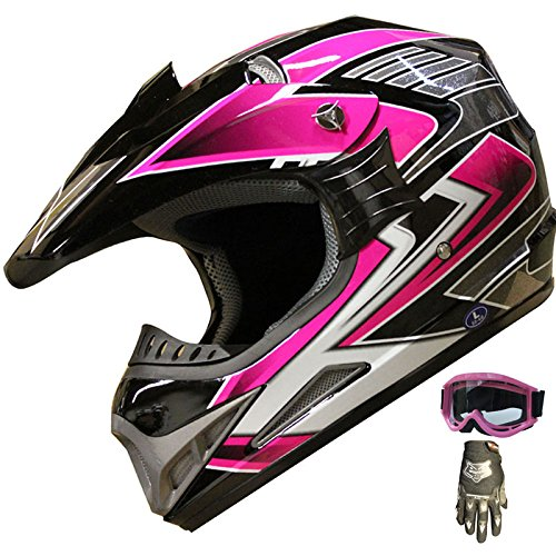 ATV Motocross Helmet Off Road Dirt Bike Helmet Combo 189 pinkglovesgoggles S