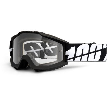 100 Accuri OTG Mens Off-RoadDirt Bike Motorcycle Goggles Eyewear - Black TornadoClear Lens  One Size
