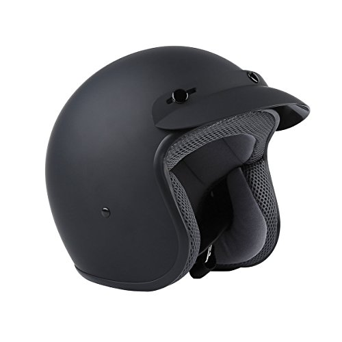 TCMT Matte Black Dot Approved Adult Motorcycle Scooter 34 Open Face Helmet XL Matte Black