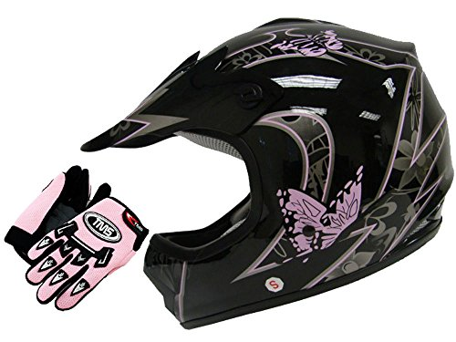TMS Youth Black Pink Butterfly Dirtbike Off-Road ATV Motocross Helmet  Gloves~SML Large