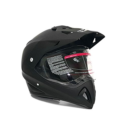 Helmet Dual Sport Off Road Motorcycle Dirt Bike ATV - FlipUp Visor - 27V Matte Black Large