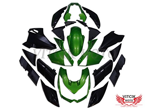 VITCIK Fairing Kits Fit for Kawasaki Z1000 2010 2011 2012 2013 Z1000 10 11 12 13 Plastic ABS Injection Mold Complete Motorcycle Body Aftermarket Bodywork Frame Green Black A002