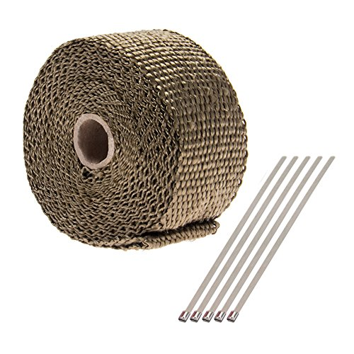 2x5M Titanium Exhaust Heat Wrap Roll Cable Pipe Tape With 5 Stainless Ties Kit