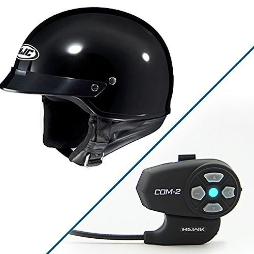 HJC CS-2N Gloss Black Half Helmet with Hawk COM-2 Bluetooth Intercom Bundle - Large w COM-2 Intercom