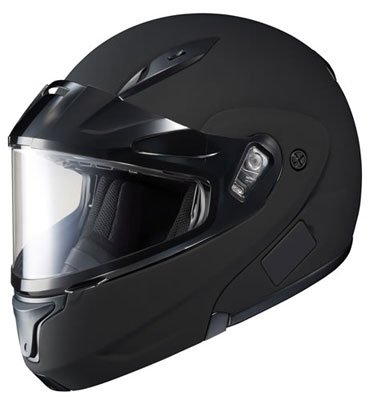HJC CL-Max 2 Solid Bluetooth Ready Modular Snowmobile Helmet with Dual Lens - Matte Black Medium