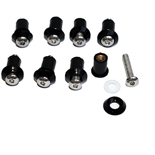 Black Motorcycle Windscreen Windshield Well-Nuts Washers Fairing Mounting Bolts Kit for 1981 Honda Goldwing 1100 GL1100I Interstate
