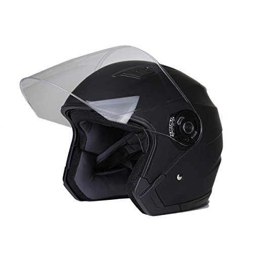 CHCYCLE Motorcycle Helmet open face with dual visor XX-Large Matte black