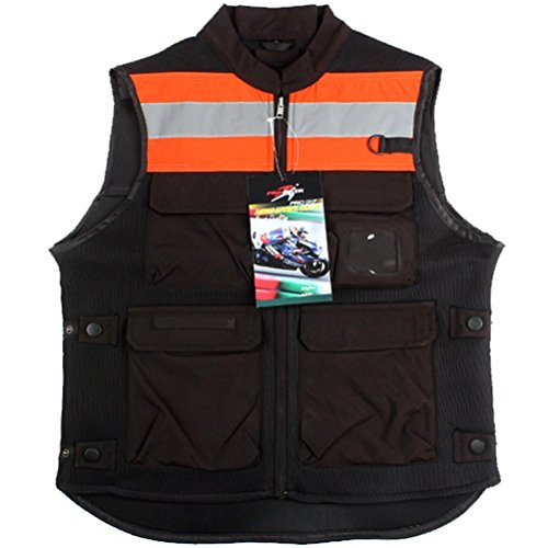 TINTON LIFE Breathable Motorcycle Biker Vest with Pockets Unisex Reflective Motorcycle Riding Suit Fluorescent Orange XL