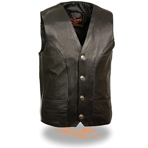 Milwaukee Leather Mens Classic Black Leather Vest with Buffalo Nickel Snaps - 52