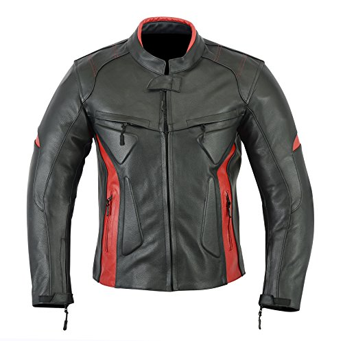 MOTORCYCLE BIKERS MENS ARMOR POWER SPORTS LEATHER MENS JACKET BLACK RED LJ-1704 S