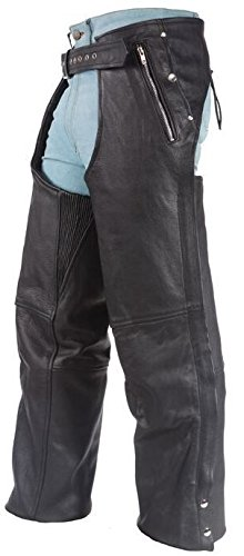 MENS MOTORCYCLE BLK LEATHER CHAP WTIH 4 POCKETS REMOVABLE LINER FULL ZIPPER 10X Regular