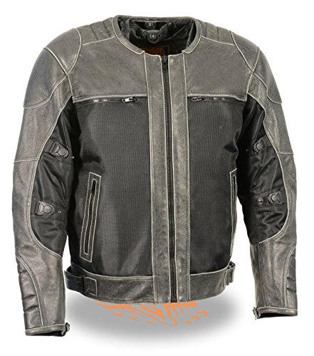 MENS RIDING DISTRESSED GREY LEATHER BLACK TEXTILE RIDING JACKET W ARMORS NEW 2XL Grey