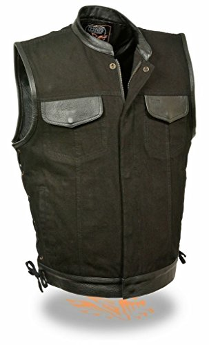 MENS MOTORCYCLE RIDING SON OF ANARCHY TEXTILE VEST LEATHER TRIMMING SIDE LACES 5XL Regular