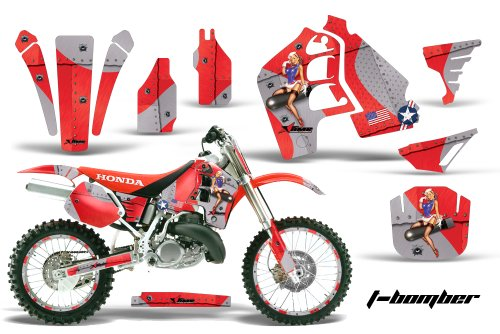 Honda CR500 1989-2001 MX Dirt Bike Graphic Kit Sticker Decals CR 500 WITH Number Plates T-BOMBER RED