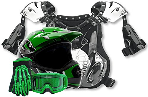 Kids Youth Offroad Helmet Gloves Goggles Chest Protector GEAR COMBO Motocross ATV Dirt Bike MX Green  Small