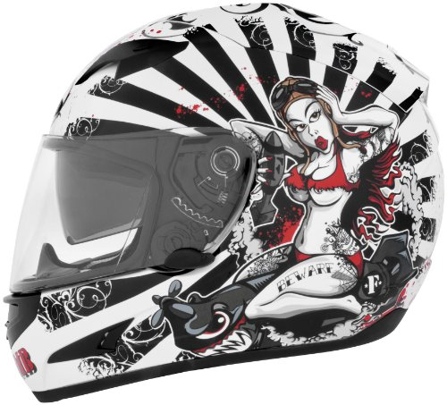 Cyber Helmets Leathal Threat US-97 F-Bomb Helmet  Helmet Type Full-face Helmets Helmet Category Street Distinct Name F-Bomb Primary Color White Size Sm Gender MensUnisex 640791