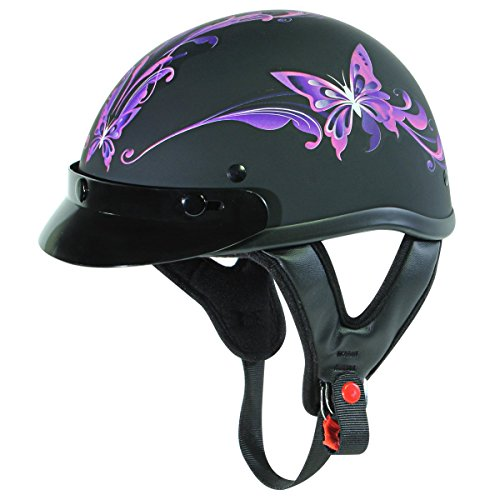 Outlaw T-70 Flat Purple Butterfly Motorcycle Half Helmet - Medium