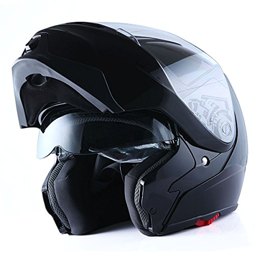 1Storm Motorcycle Street Bike ModularFlip up Dual VisorSun Shield Full Face Helmet GlossyBlack Large