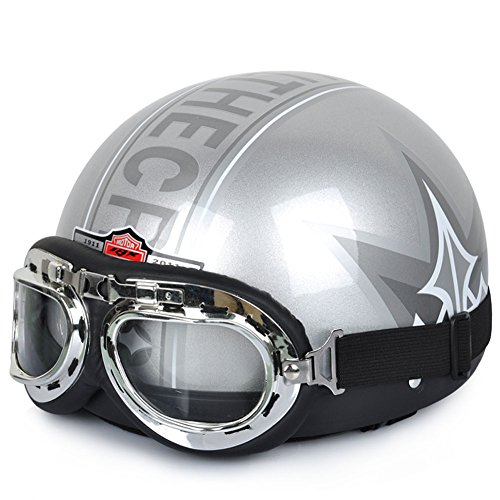 SILVER TCCool Durable Adult ScooterChopperMotorcycle Helmet with Goggles