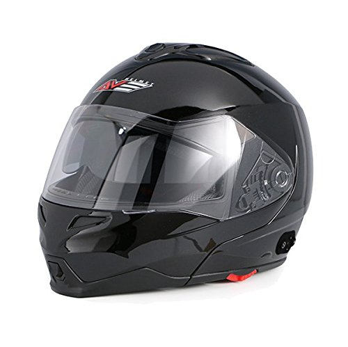 AVE A-20 Atom Modular Flip-Up Motorcycle Helmet with Integrated Bluetooth and Drop Down Sun Visor Black Large