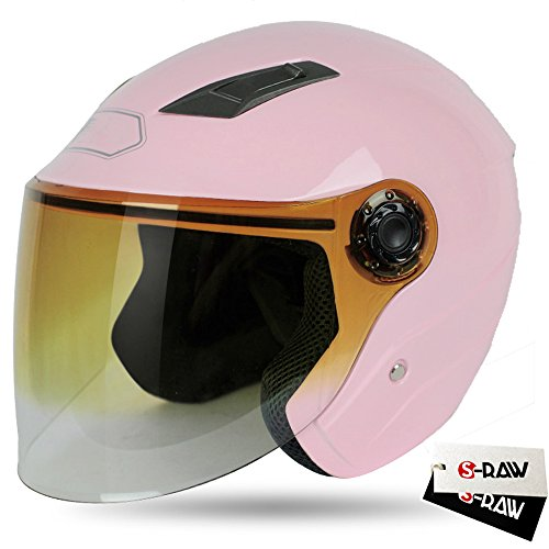 S-raw Dot Motorcycle Helmet 3/4 Open Face Helmet With Shield Visor Scooter Helmet, Light Pink Small