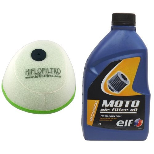 Hiflofiltro HFF4013 Dual Stage Racing Foam Air Filter and Elf 802039 Foam Air Filter Oil - 1 Liter Bottle Bundle