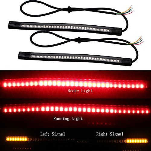 EverBrightt 2-Pack Red  Yellow 3528  3014 48SMD LED Motorcycle Light Strip For Taillight Brake Light Turn Signal Lamp DC 12V