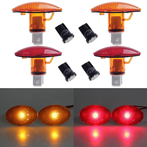 HERCOO Dually Bed Fender Side Marker Lights w LED Bulbs Aftermarket Replacement for 1999-2010 Ford F350 F450 F550 Full Kit