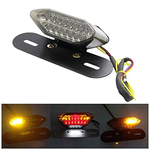 Super Bright 16 LED Beads IP54 Watwerproof All-in-one Universal Motorcycle Turn Signal Indicators Brake License Plate Integrated Tail Light