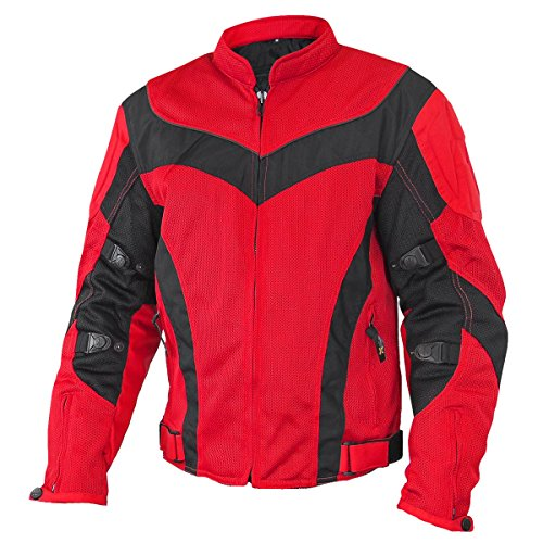 Xelement Invasion Mens Red/black Mesh Armored Motorcycle Jacket With Gun Pocket - Large