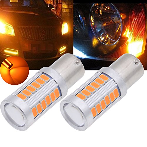 TUINCYN BAU15S P21W Amber 5630 33SMD LED Bulbs 900 Lumens 7507 1156PY Bright Brake Stop Parking Light Turn Signals Bulb Side Markers Lamp DC 12V 36W Pack of 2