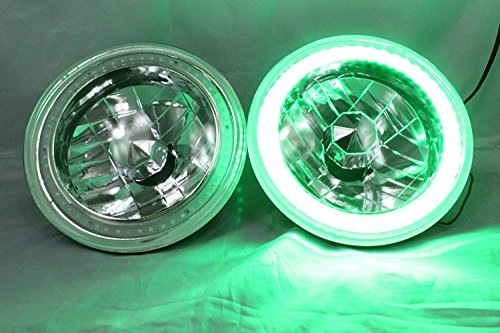 1969-1978 Ford Bronco 7 Round 601460156024 Green LED SMD Halo Headlights