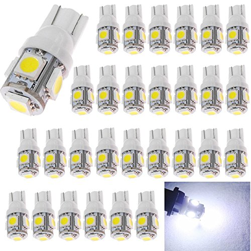 AMAZENAR 30-Pack White Replacement Stock  194 T10 168 2825 W5W 175 158 Bulb 5050 5 SMD LED Light 12V Car Interior Lighting For Map Dome Lamp Courtesy Trunk License Plate Dashboard Parking Lights