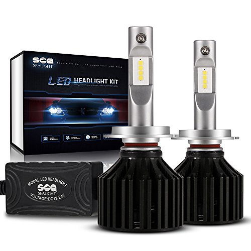SEALIGHT X2 H7 LED Headlight Conversion Kit  DOT Approved  - 50W 8000LM - 16x CSP LED Chips - Cool White 6000K - Low Beam  High Beam  Fog Light Bulbs - H7 Bulbs- 2 Yr Warranty
