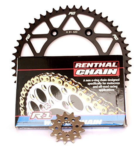 RENTHAL R1 CHAIN AND SPROCKET COMBO KIT YAMAHA YZ450F  YZ2502 Stroke 13T FRONT  48 49 50 51 TOOTH BLACK REAR SPROCKET 51T