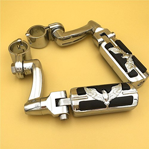 XKH Group Motorcycle Chrome 360 Adjustable Peg Mounting Kit Eagle Foot Peg For Honda GoldWing VTX1300 Shadow Valkyrie Triumph Equipped with 1-14 inch 125 Front Engine Guard Frame Tube