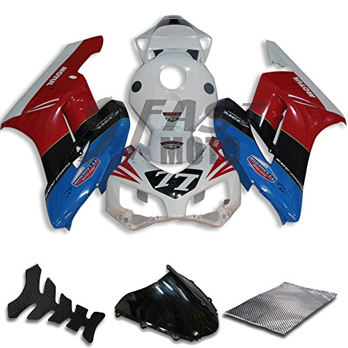 9FastMoto Fairings for honda 2004 2005 CBR1000 RR 04 05 CBR1000RR Motorcycle Fairing Kit ABS Injection Set Sportbike Cowls Panels White Red H0773