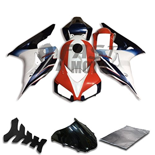 9FastMoto Fairings for honda 2006 2007 CBR1000 RR 06 07 CBR1000 RR Motorcycle Fairing Kit ABS Injection Set Sportbike Cowls Panels Red White H0150