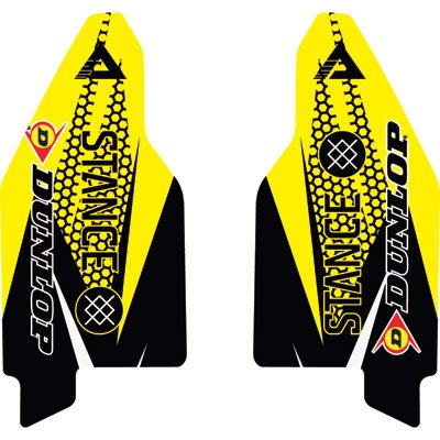Attack Graphics Deseret Lower Fork Guard Decal Yellow - Fits Suzuki RM125 1999-2003